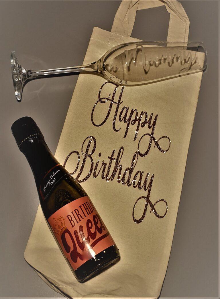 Birthday Prosecco flat lay